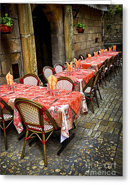 Inviting Greeting Cards - Restaurant patio in France Greeting Card by Elena Elisseeva