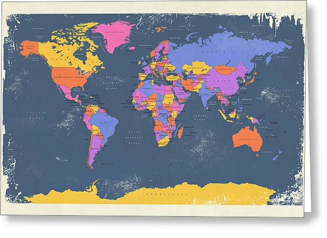 Atlas Greeting Cards - Retro Political Map of the World Greeting Card by Michael Tompsett