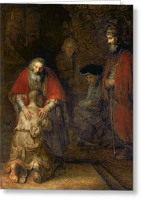 Prodigal Greeting Cards - Return Of The Prodigal Son Greeting Card by Celestial Images