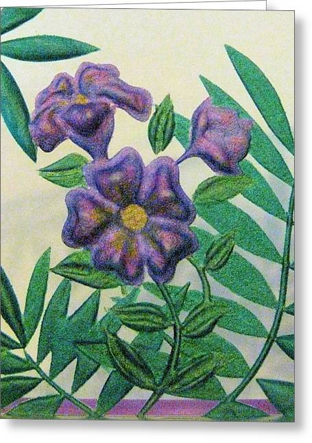Purples Glass Art Greeting Cards - Reverse Painted Carved Florals on Glass Greeting Card by Judy Via-Wolff