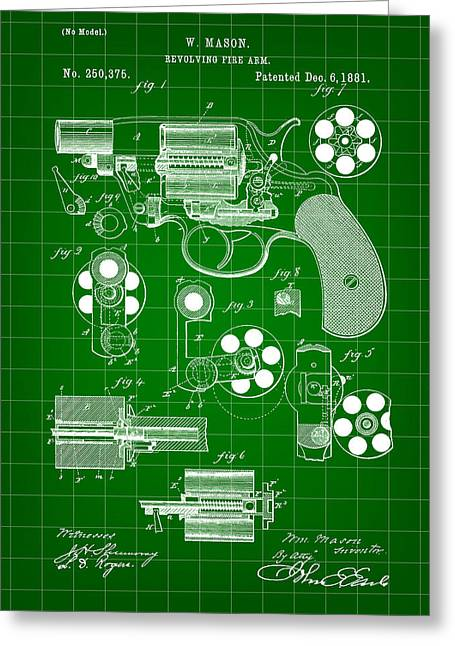 Marksman Greeting Cards - Revolving Fire Arm Patent 1881 - Green Greeting Card by Stephen Younts