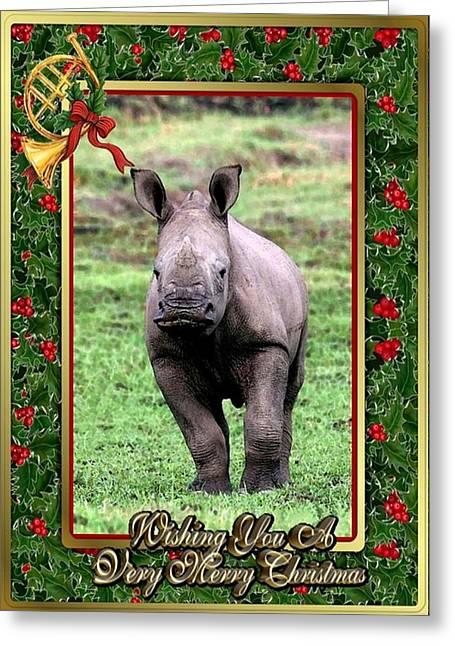 Rhinoceros Paintings Greeting Cards - Rhinoceros Blank Christmas Greeting Card Greeting Card by Olde Time  Mercantile