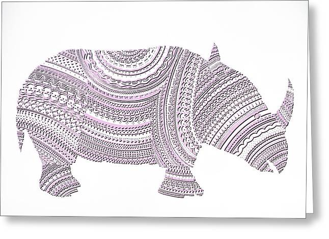 Rhinoceros Mixed Media Greeting Cards - Rhinoceros Greeting Card by Olga Zsuzsanna Petrovits