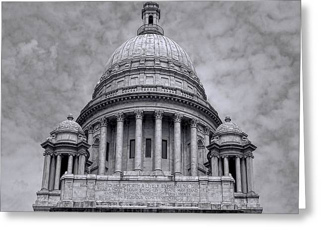 Historical Building Greeting Cards - RI State House Greeting Card by Lourry Legarde