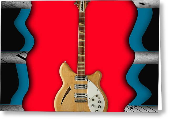 Hip Greeting Cards - Rickenbacker Guitar Collection Greeting Card by Marvin Blaine