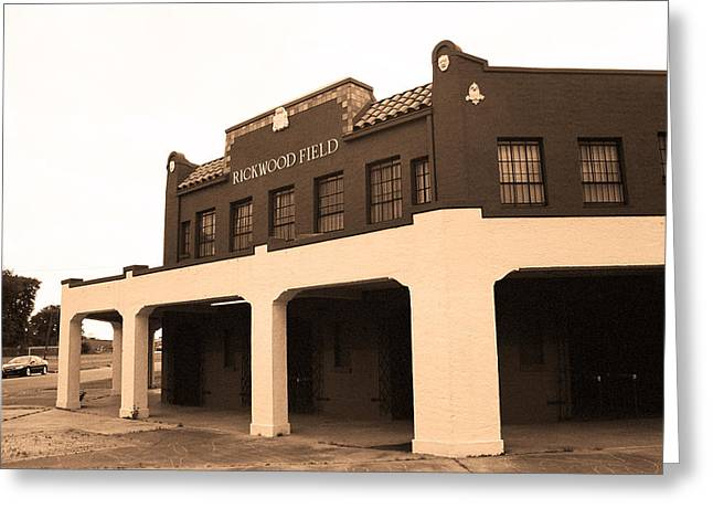 Alabama Sports Art Greeting Cards - Rickwood Field Greeting Card by Frank Romeo