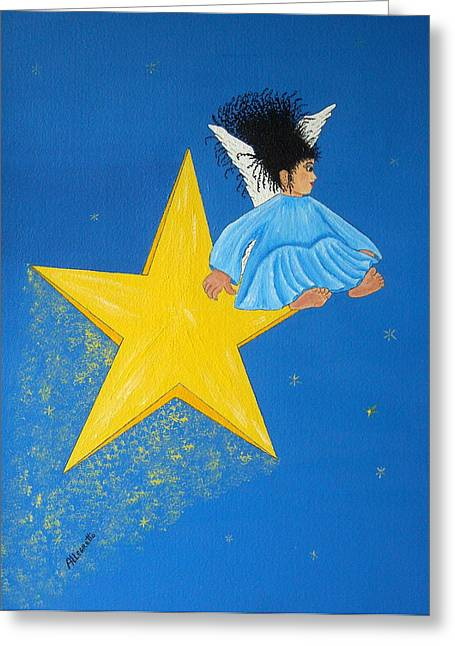 African-american Mixed Media Greeting Cards - Ride A Shooting Star Greeting Card by Pamela Allegretto