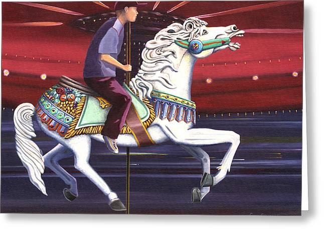 Carousel Greeting Cards - Riding the carousel Greeting Card by Gary Giacomelli