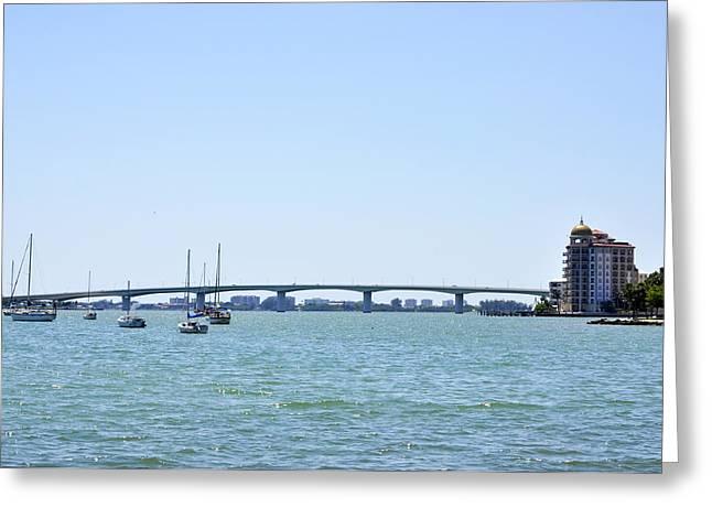 Ringling Bridge Afternoon Sarasota Florida Greeting Card by Sally Rockefeller