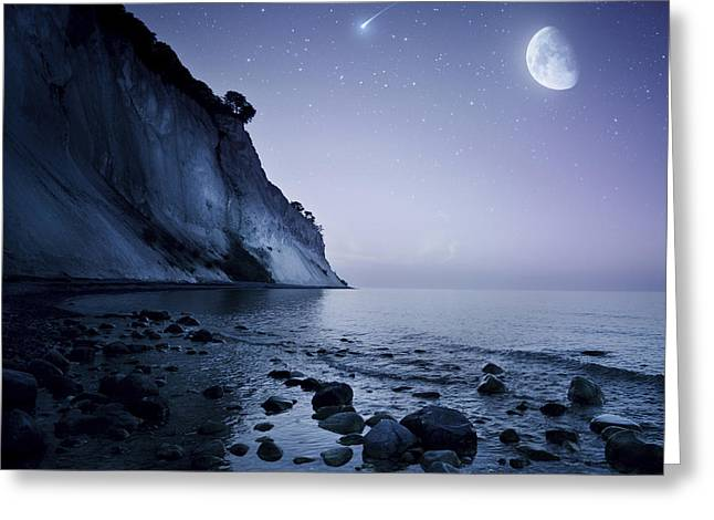 Moon Beach Greeting Cards - Rising Moon Over Ocean And Mountains Greeting Card by Evgeny Kuklev