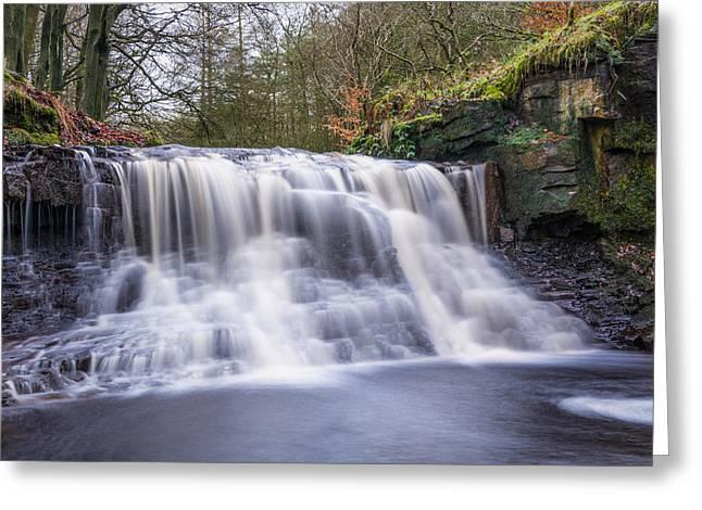 Hike Greeting Cards - River Roddlesworth Waterfall. Greeting Card by Daniel Kay