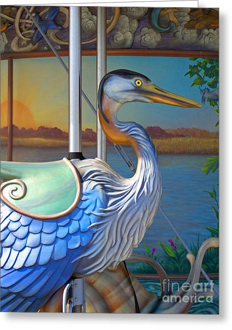 Amusements Greeting Cards - Riverfront Carousel Greeting Card by Ann Horn