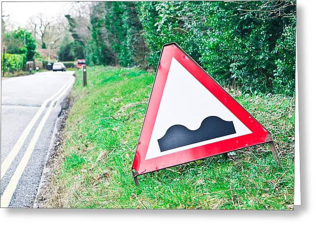 Ahead Greeting Cards - Road sign Greeting Card by Tom Gowanlock