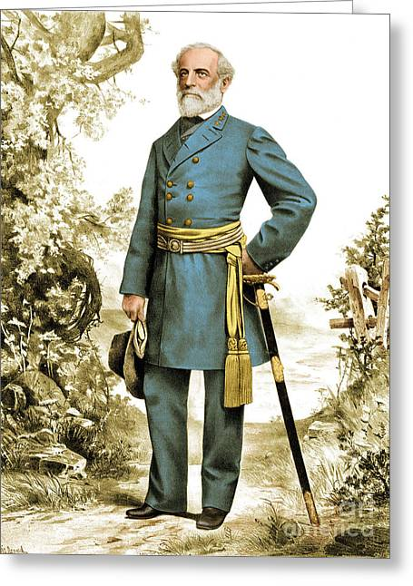 Beloved Greeting Cards - Robert E. Lee, Confederate Army Greeting Card by Photo Researchers