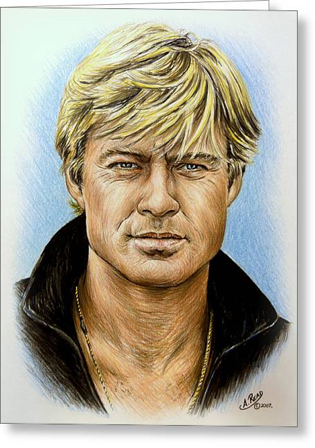 Sex Drawings Greeting Cards - Robert Redford Greeting Card by Andrew Read