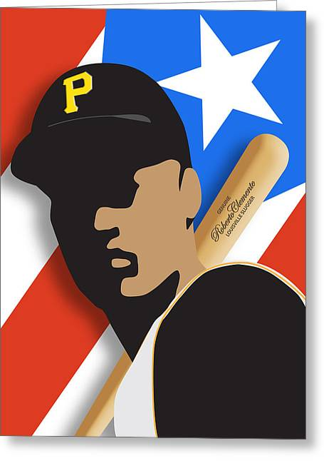 Stadium Design Greeting Cards - Roberto Clemente Greeting Card by Ron Regalado