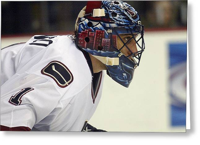 Vezina Greeting Cards - Roberto Luongo Greeting Card by Don Olea