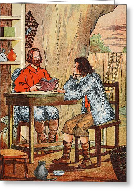 Ashore Greeting Cards - Robinson Crusoe and Friday Greeting Card by English School