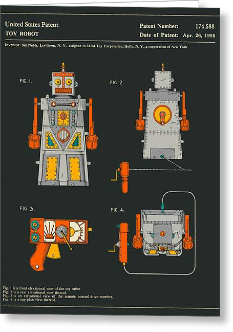 Childrens Prints Greeting Cards - Robot Greeting Card by Jazzberry Blue