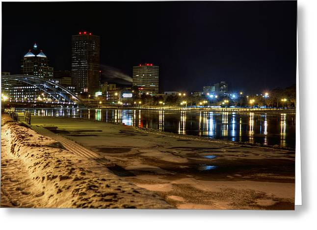 Rochester Skyline Greeting Cards - Rochester at Night Greeting Card by Tim Buisman