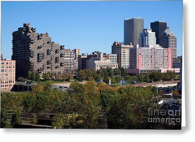 Xerox Greeting Cards - Rochester New York Skyline Greeting Card by Bill Cobb