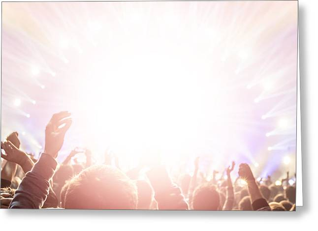 Applaud Photographs Greeting Cards - Rock concert Greeting Card by Anna Omelchenko