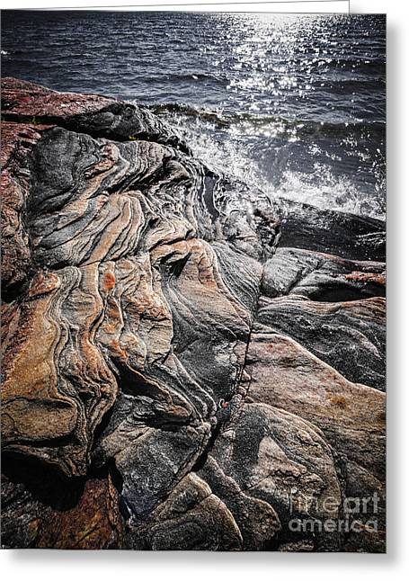 Boulder - Rock Greeting Cards - Rock formations at Georgian Bay Greeting Card by Elena Elisseeva