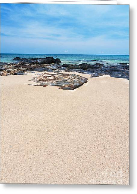 Waves Pastels Greeting Cards - Rock Sand Sea And Sky Greeting Card by Atiketta Sangasaeng