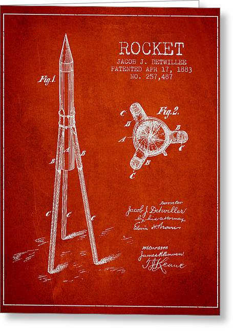 Rocket Greeting Cards - Rocket Patent Drawing From 1883 Greeting Card by Aged Pixel