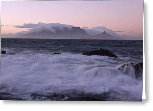 Surf City Greeting Cards - Rocks In The Sea With Table Mountain Greeting Card by Panoramic Images