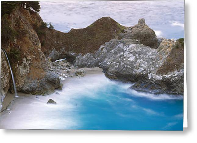 Big Sur Beach Photographs Greeting Cards - Rocks On The Beach, Mcway Falls, Julia Greeting Card by Panoramic Images