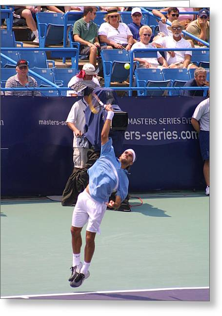 Association Of Tennis Professionals Greeting Cards - Roger Federer After 1st Slam Greeting Card by Rexford L Powell
