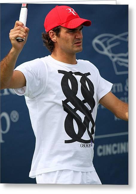 Roger Federer Greeting Cards - Roger Federer Greeting Card by James Marvin Phelps