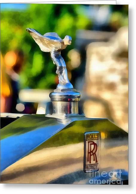 Car Mascot Paintings Greeting Cards - 1930 Rolls Royce 20/25 Greeting Card by George Atsametakis