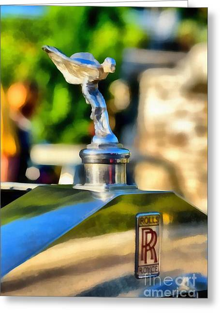 Car Mascot Paintings Greeting Cards - 1930 Rolls Royce 20/25 Greeting Card by George Atsametakis
