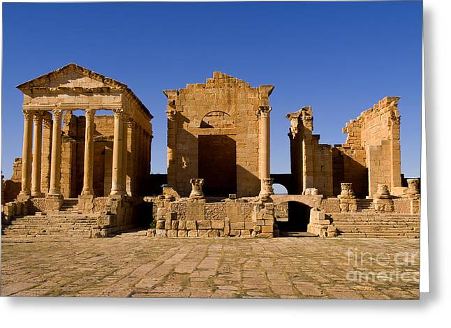 Northern Africa Greeting Cards - Roman Ruins Of Sufetula, Tunisia Greeting Card by Bill Bachmann