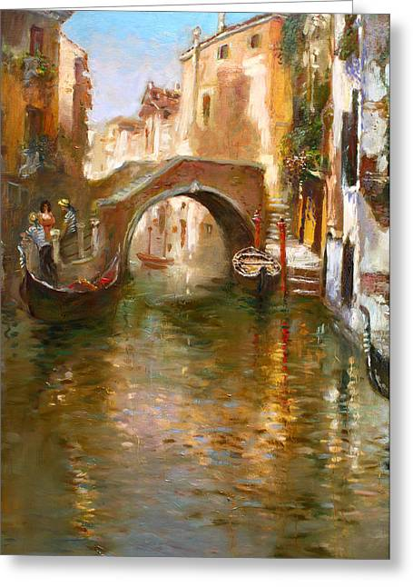 Canal Greeting Cards - Romance in Venice  Greeting Card by Ylli Haruni