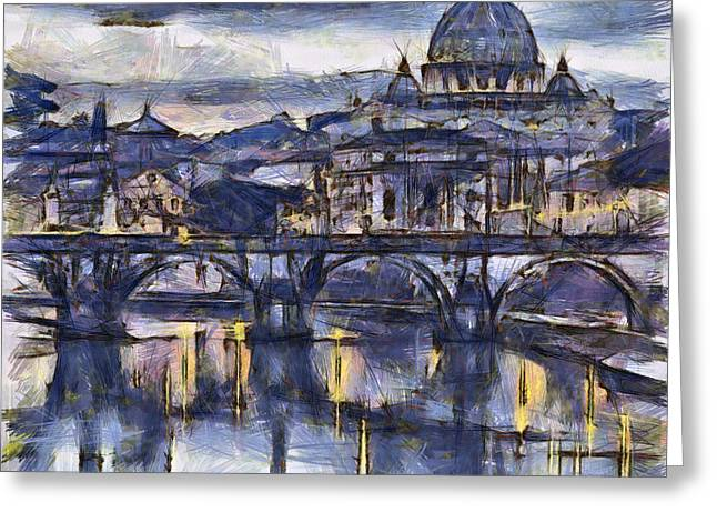 Italian Sunset Greeting Cards - Rome and the river tiber at dusk Greeting Card by Sophie McAulay