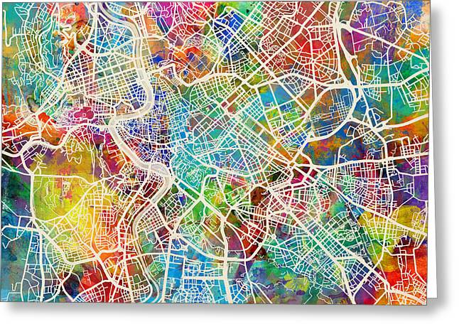 Rome Italy Street Map Greeting Card by Michael Tompsett