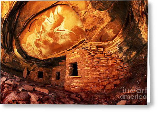 Cliff Dwellers Greeting Cards - Roof Falling In Ruin Utah Greeting Card by Bob Christopher