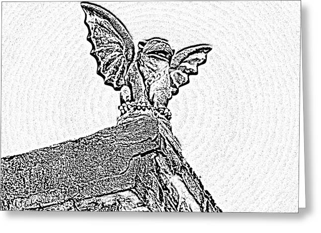 Historic Statue Greeting Cards - Rooftop Gargoyle Statue above French Quarter New Orleans Black and White Photocopy Digital Art Greeting Card by Shawn O