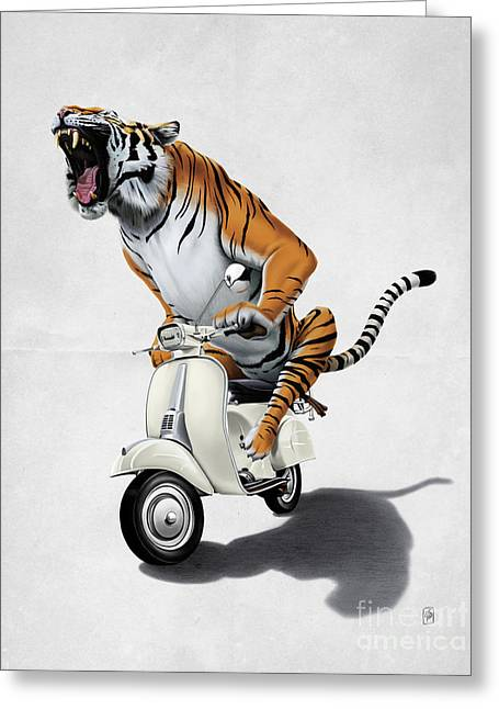 Tiger Illustration Greeting Cards - Rooooaaar Wordless Greeting Card by Rob Snow