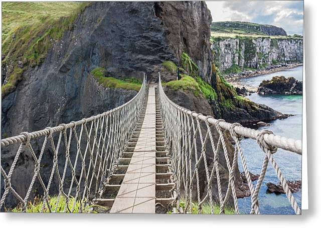 Swing Span Greeting Cards - Rope Bridge at Carrick-a-Rede in Northern Island Greeting Card by Semmick Photo