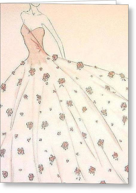 Ball Gown Greeting Cards - Rose Ball Gown   Greeting Card by Christine Corretti