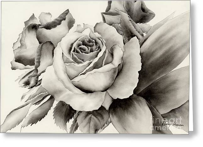 E Black Greeting Cards - Rose Bouquet Greeting Card by Hailey E Herrera