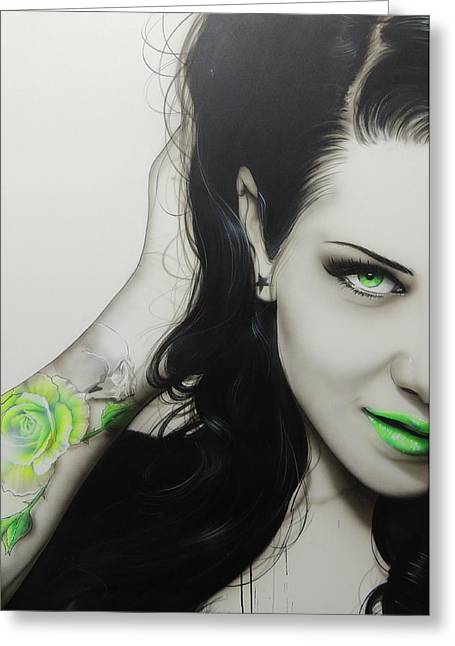 Tattoo Greeting Cards - Rose of Envy Greeting Card by Christian Chapman Art