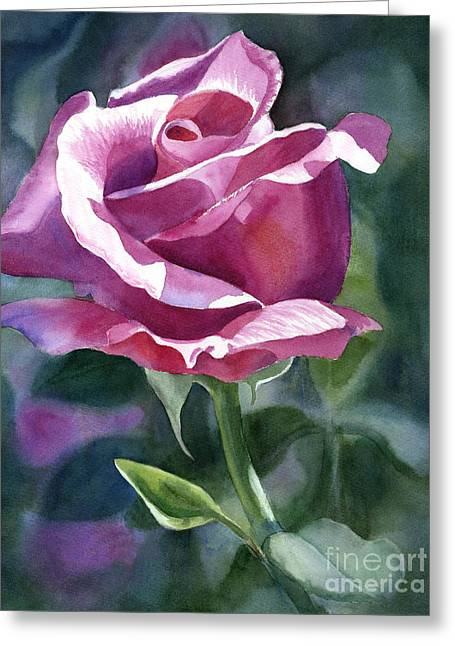 Watercolor! Art Greeting Cards - Rose Violet Bud Greeting Card by Sharon Freeman