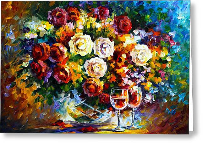 Wine Reflection Art Greeting Cards - Roses And Wine Greeting Card by Leonid Afremov