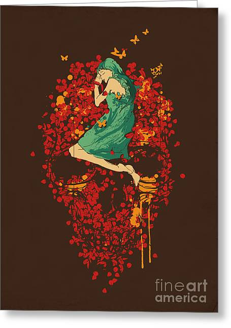Macabre Greeting Cards - Roses are red but why you look so blue Greeting Card by Budi Satria Kwan