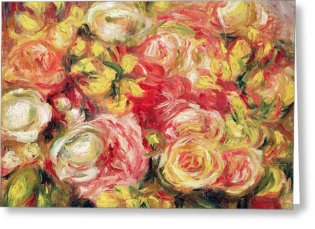 Renoir Greeting Cards - Roses Greeting Card by Pierre Auguste Renoir